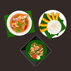 thailand food tom yum sticky rice mango pad thai