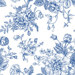 Seamless  pattern with bouquet of  flowers.