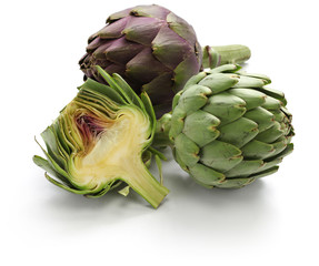 whole and half cut artichoke isolated on white background