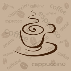 cup of coffee on a beige background with  beans and the words