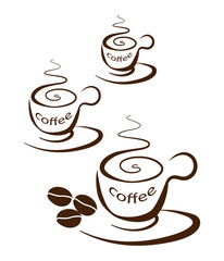 Three cups of coffee on a white background