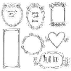 set of doodle frames.