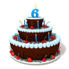 Birthday cake with number six