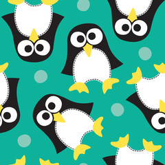 seamless penguin pattern vector illustration