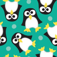 seamless penguin pattern vector illustration