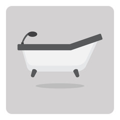 Vector of flat icon, bathtub on isolated background