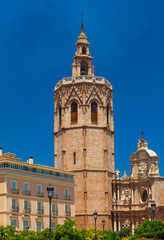 Metropolitan Basilica Cathedral with bell tower. Valencia, Spain