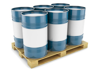 Blue steel barrels on pallet