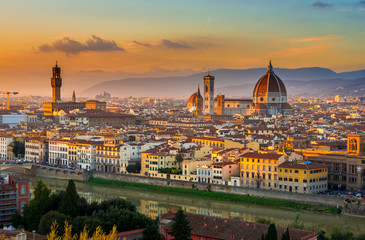 Fototapeten Florenz Sunset view of Florence and Duomo. Italy