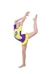 Cute young girl doing gymnastics isolated over white