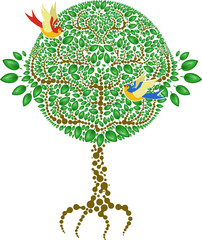 a stylized tree with green leafs and two birds