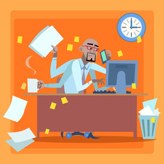 African businessman loaded with work time management