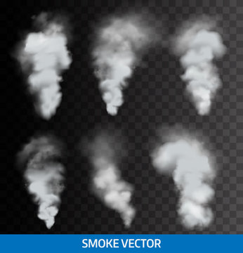 Realistic transparent smoke, steam. Vector