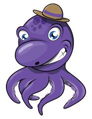 Octopus purple colour funny cartoon