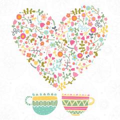 Tea with love. Vector illustration.