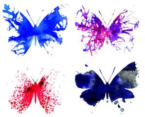 Fotobehang Vlinders in Grunge Watercolor Butterflies