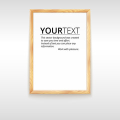 Picture wood frame, vector for image or text .