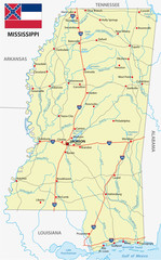 mississippi road map with flag