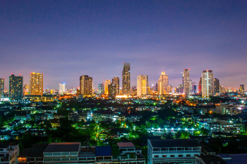Landscape Night view at the top view of Bangkok,
