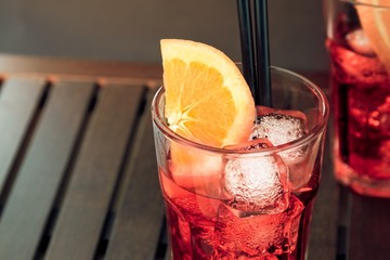 Fototapete - top of view of glasses of spritz aperitif aperol cocktail