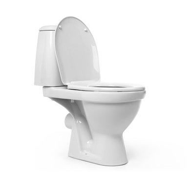 Open toilet bowl isolated on white background
