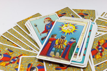 Tarot cards with white background