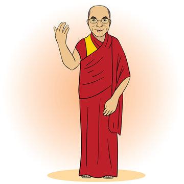 Cartoon figure of buddhist monk. Vector illustration