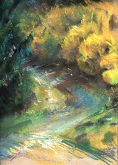Hand drawn pastel picture of spring landscape with laburnum