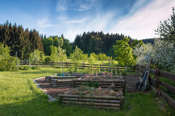 garden with compost, wooden beds and orchard
