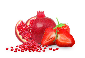 Pomegranate and strawberry isolated