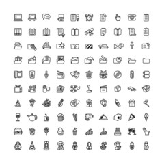 one hundred black outline computer icons isolated on white