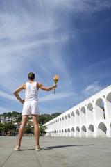 Athletic Man Holding Sport Torch Lapa Rio de Janeiro