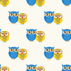 Cute seamless pattern with owls couple.