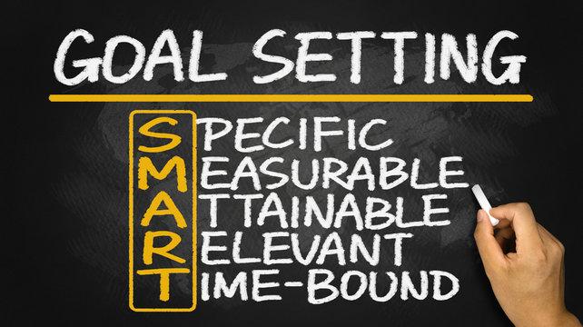smart goal setting hand drawn on blackboard