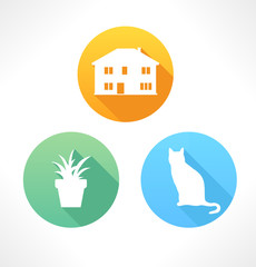 Cat, flower and house vector icon. Silhouette. Flat style.