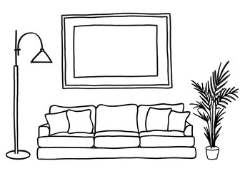 couch and blank picture frame, vector mock-up