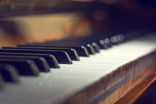 Piano keyboard background with selective focus