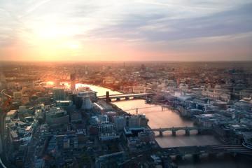 LONDON, UK - APRIL 15, 2015: City of London panorama at sunset.  Wall mural
