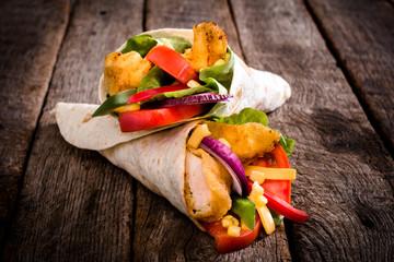 Fried chicken wrap sandwich