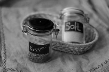 capacity for salt and pepper on linen background basket