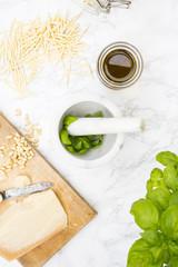 Pesto alla genovese, Trofi Nudeln, Basilikum, Parmesan