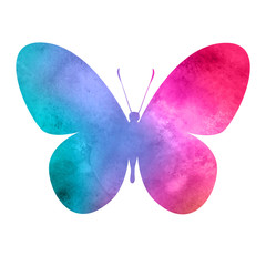 colorful_pink-red_watercolor_butterfly