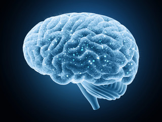 Brain isolated on a dark background. Nerve impulses.