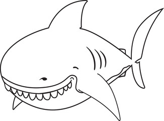 Smiling cartoon Great white shark.coloring book illustration