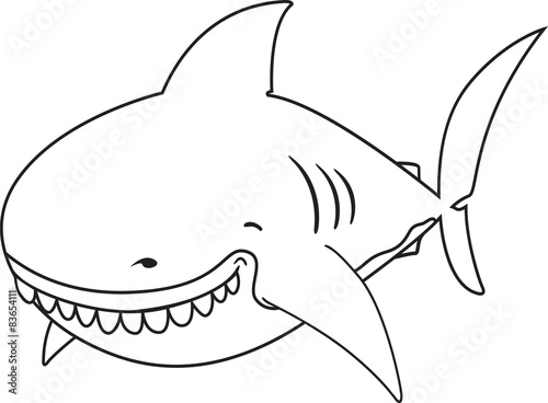 Smiling cartoon Great white shark.coloring book illustration ...