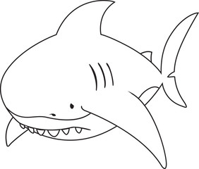 Sad looking great white shark.coloring book illustration