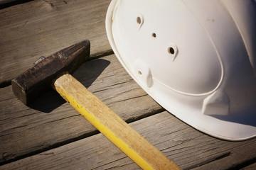 helmet and tools hammer