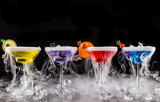 Martini drinks with dry ice smoke effect