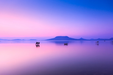 Photo on textile frame Purple Beautiful sunset in lake Balaton