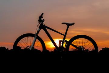Silhouette shot of mountain bike